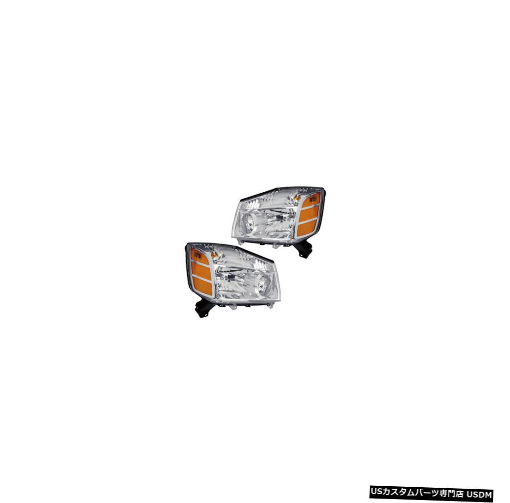 ヘッドライト Fits 04-07 Nissan Armada/Titan Driver & Passenger Side Headlights Lamps Pair Set