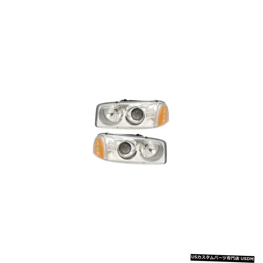 ヘッドライト 99-06 GMC Sierra C3/Denali/Yukon Denali Driver & Passenger Headlights Pair Set