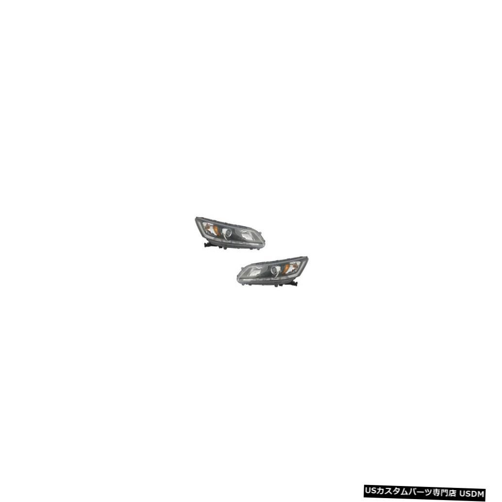 & w/DRL Accord Side Honda Driver ヘッドライト Passenger Headlights Pair Lamps 13-14 Set Sedan
