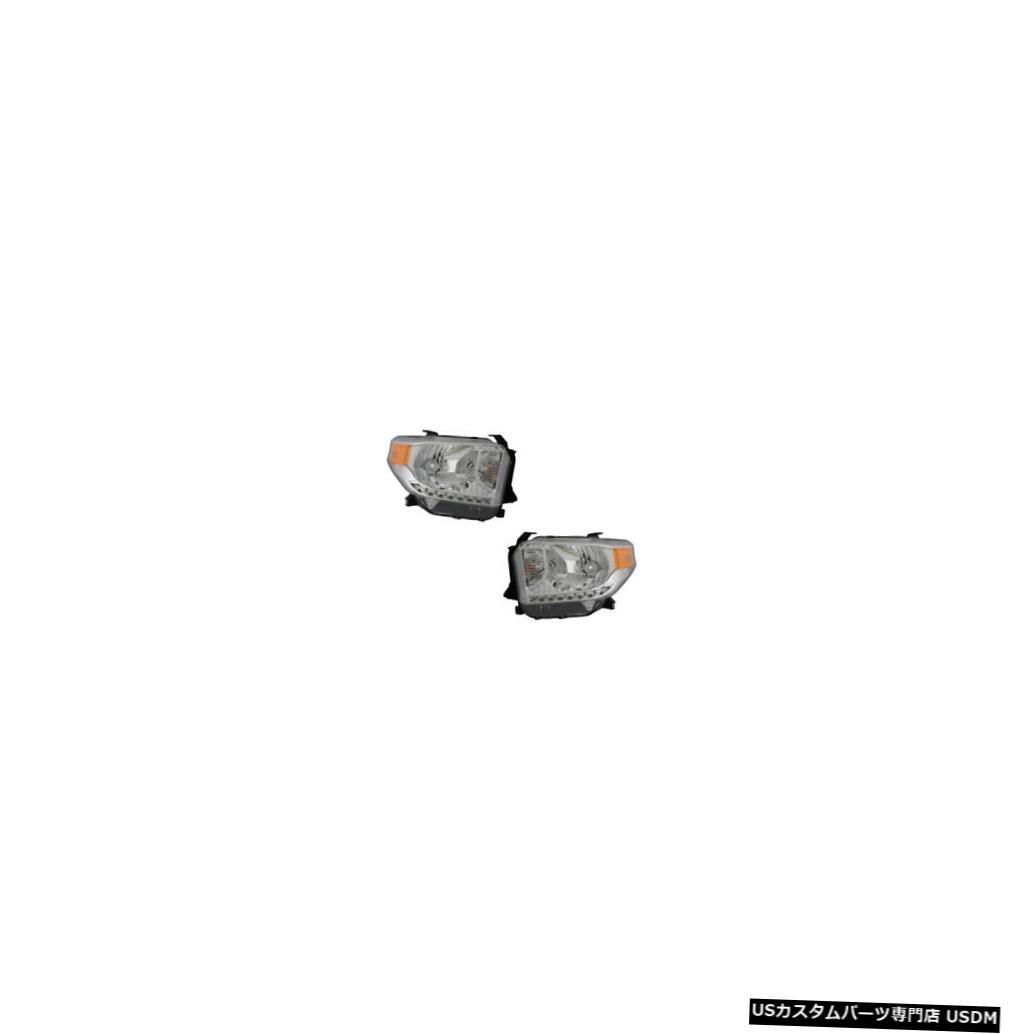 ヘッドライト 14-16 Toyota Tundra Driver & Passenger Halogen Headlights w/o Leveling Pair Set