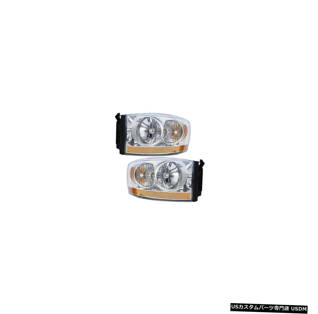 ヘッドライト 06-07 Dodge Ram Pickup Driver & Passenger Headlights w/o Black Bezel Pair Set