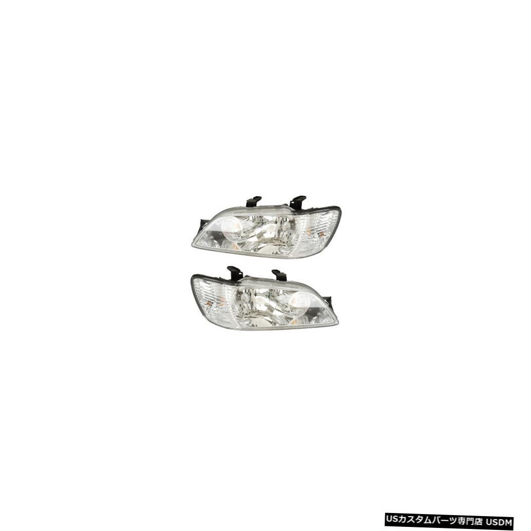 ヘッドライト 2002-2003 Mitsubishi Lancer Driver & Passenger Side Headlights Lamps Pair Set