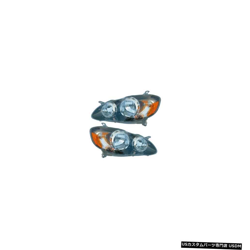 ヘッドライト 2005-2008 Toyota Corolla Sport Driver & Passenger Side Headlights Lamps Pair Set