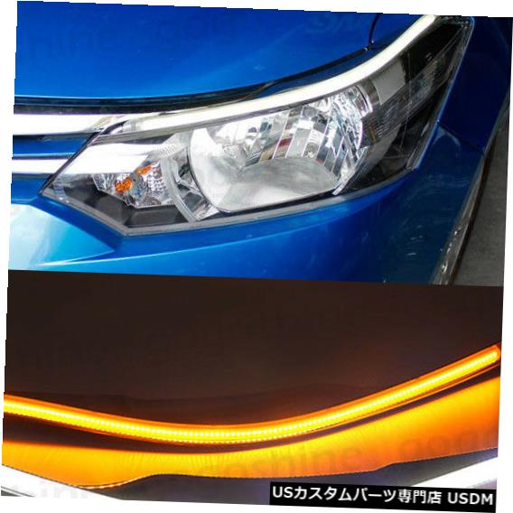 Turn Signal Lamp トヨタVIOS 2014-16のターンシグナルを運転するLEDのヘッドライトの眉毛のトリムランプDRL LED Headlight Eyebrow Trim Lamp DRL Driving Turn Signal for Toyota VIOS 2014-16