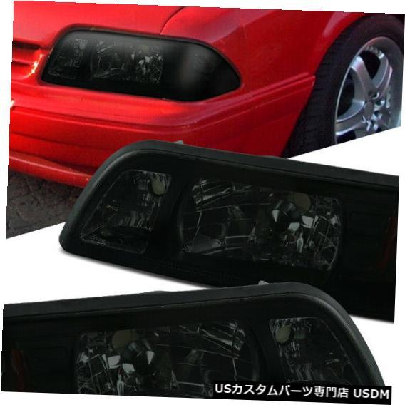 Turn Signal Lamp フィットフォード87-93マスタング交換煙1ピーススタイルヘッドライトヘッドランプ Fit Ford 87-93 Mustang Replacement Smoke 1-Piece Style Headlights Head Lamps