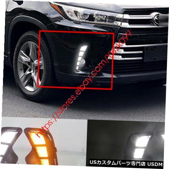Turn Signal Lamp トヨタハイランダー2018+用LEDデイタイムランニングライトDRLターンシグナルフォグランプ LED Daytime Running Lights DRL Turn Signal Fog Lamp For Toyota Highlander 2018+