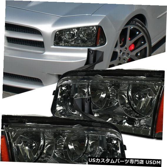 Turn Signal Lamp フィット06-10ダッジチャージャー交換用スモークヘッドライトヘッドランプ+サイン alランプペア Fit 06-10 Dodge Charger Replacement Smoke Headlights Headlamps+Signal Lamps Pair
