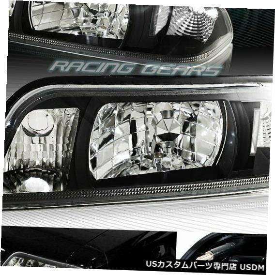 BLACK 1987-1993フォードマスタングブラックハウジングクリアリフレクター1ピースヘッドライトランプ HOUSING MUSTANG FOR 1-PIECE 1987-1993 Headlight HEADLIGHTS FORD LAMP CLEAR REFLECTOR