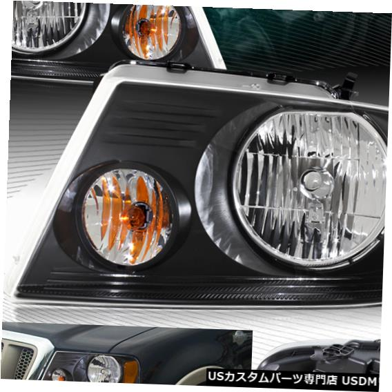 Headlight ブラックハウジングヘッドライトW /アンバーリフレクターフィット04-08フォードF150 / F-150 / MAR K LT BLACK HOUSING HEADLIGHTS W/AMBER REFLECTOR FIT 04-08 FORD F150/F-150/MARK LT