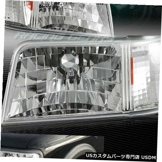Headlight クロームハウジングヘッドライト1ピースW /アンバーリフレクターランプフィット93-97フォードレンジャー CHROME HOUSING HEAD LIGHTS 1-PIECE W/AMBER REFLECTOR LAMP FIT 93-97 FORD RANGER