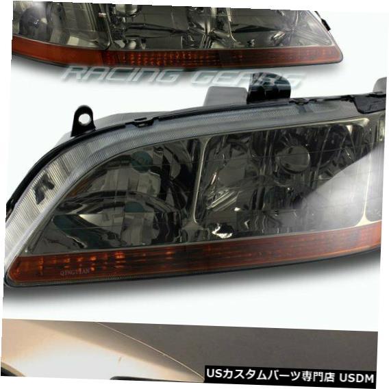 Headlight クロームハウジングの煙レンズのヘッドライトW /アンバーの反射器の適合98-02ホンダアコード CHROME HOUSING SMOKE LENS HEAD LIGHTS W/AMBER REFLECTOR FIT 98-02 HONDA ACCORD