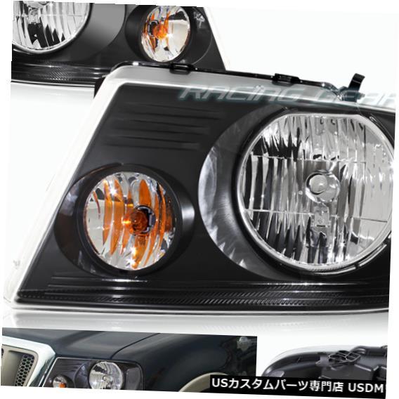 Headlight ブラックハウジングヘッドライトW /クリアリフレクターフィット04-08フォードF150 / F-150 / MAR K LT BLACK HOUSING HEADLIGHTS W/CLEAR REFLECTOR FIT 04-08 FORD F150/F-150/MARK LT
