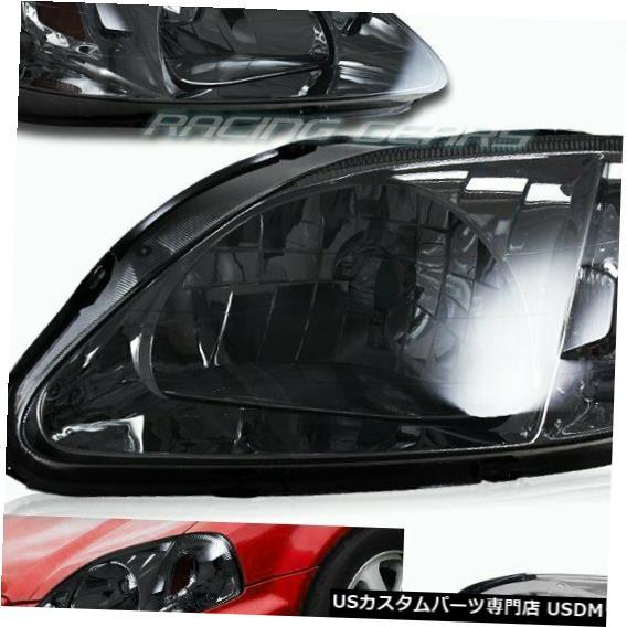 Headlight JDMスモークレンズヘッドライトW /アンバーリフレクターランプフィット99-00ホンダシビックペア JDM SMOKE LENS HEAD LIGHTS W/AMBER REFLECTOR LAMPS FIT 99-00 HONDA CIVIC PAIR