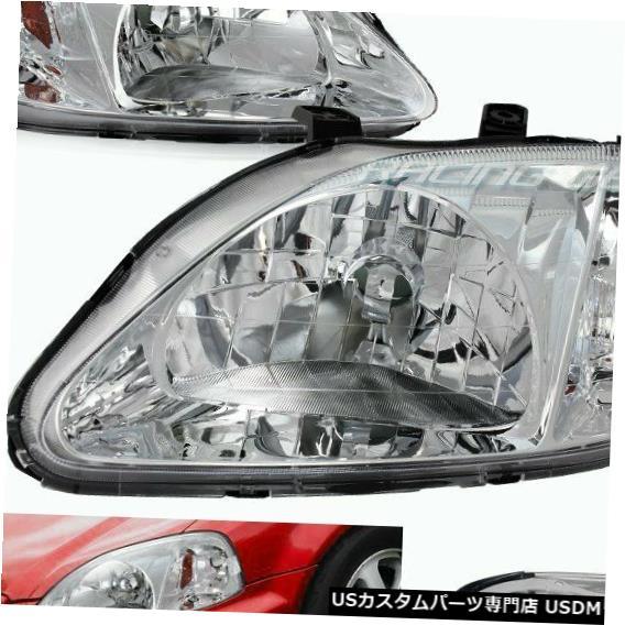 Headlight クロームハウジングヘッドライトW /アンバーリフレクターランプフィット99-00ホンダシビックペア CHROME HOUSING HEAD LIGHTS W/AMBER REFLECTOR LAMPS FIT 99-00 HONDA CIVIC PAIR