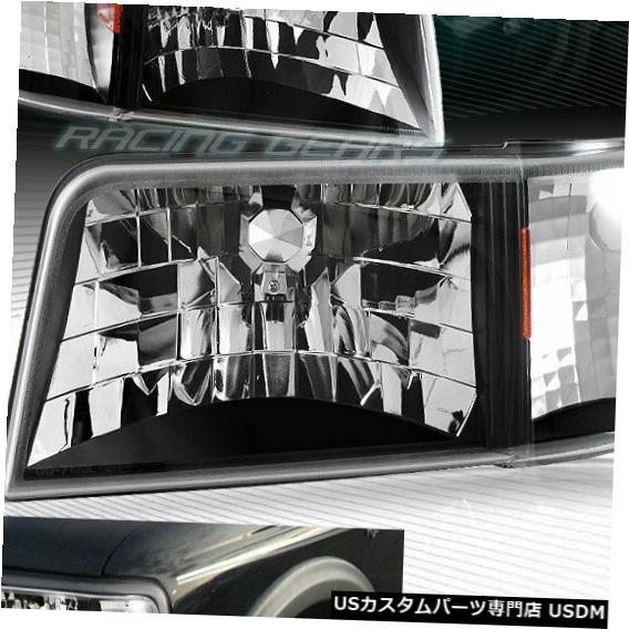 Headlight フィット1993-1997フォードレンジャーブラックハウジングヘッドライト1ピースW /アンバーリフレクター FIT 1993-1997 FORD RANGER BLACK HOUSING HEAD LIGHTS 1-PIECE W/AMBER REFLECTOR