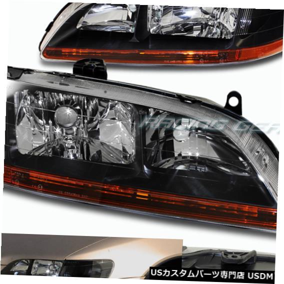 Headlight ブラックハウジングヘッドライトW /アンバーリフレクターランプフィット98-02ホンダアコードペア BLACK HOUSING HEAD LIGHTS W/AMBER REFLECTOR LAMPS FIT 98-02 HONDA ACCORD PAIR