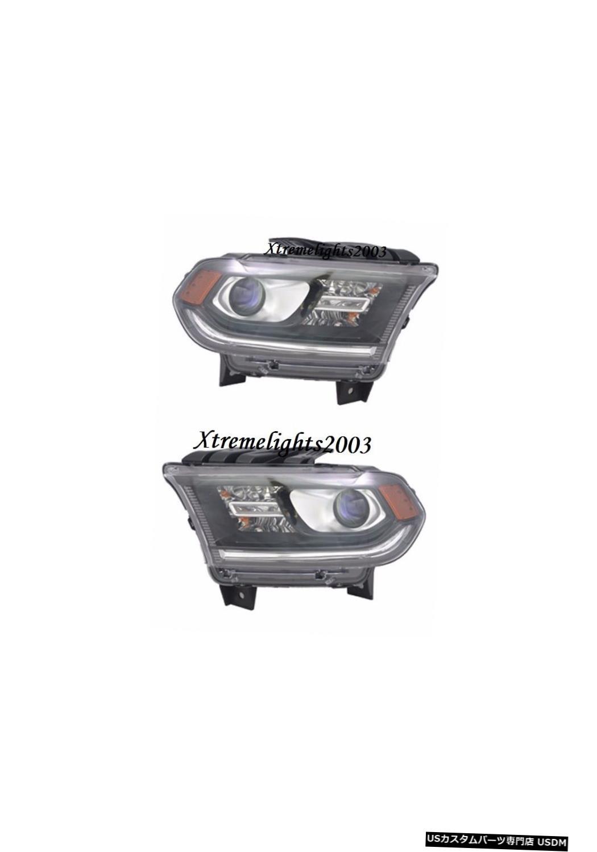Headlight DODGE DURANGO 2014-2015ブラックヘッドライトヘッドランプライトLEDペアセットなし DODGE DURANGO 2014-2015 BLACK HEADLIGHTS HEAD LAMPS LIGHTS W/O LED PAIR SET