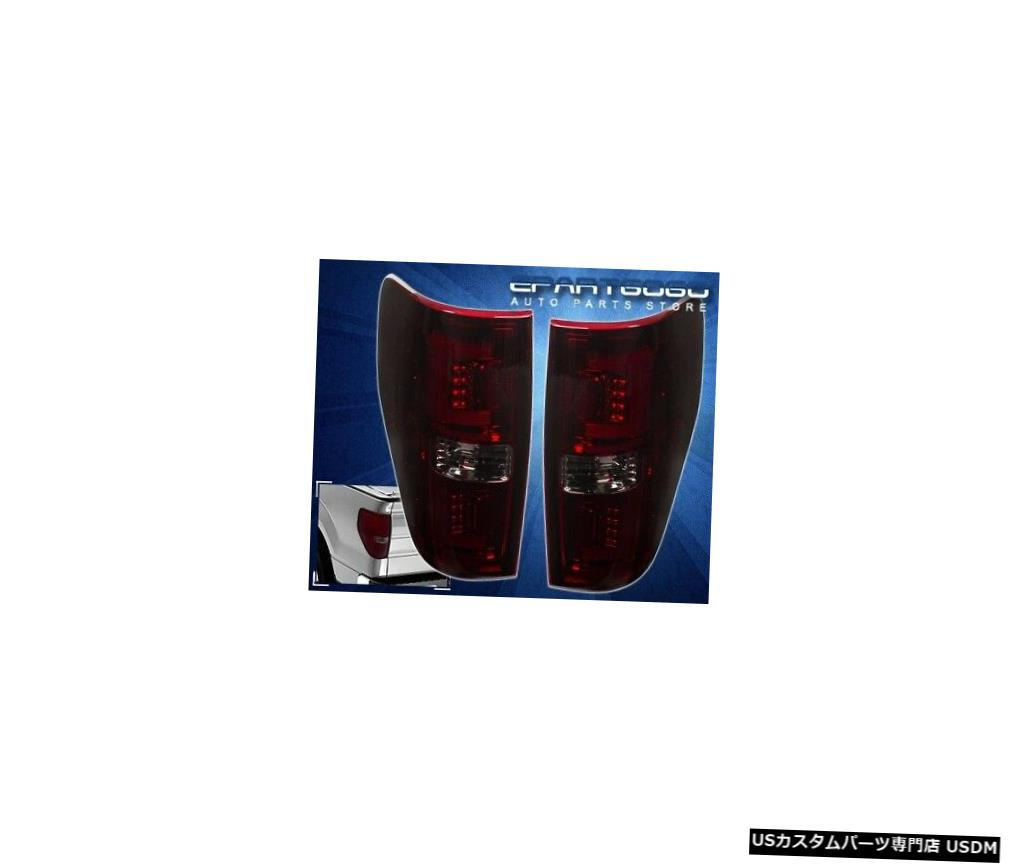 テールライト 09-2014フォードF150ピックアップスモークレッドレンズ「C」チューブLedテールライトブレーキランプ用 For 09-2014 Ford F150 Pickup Smoked Red Lens