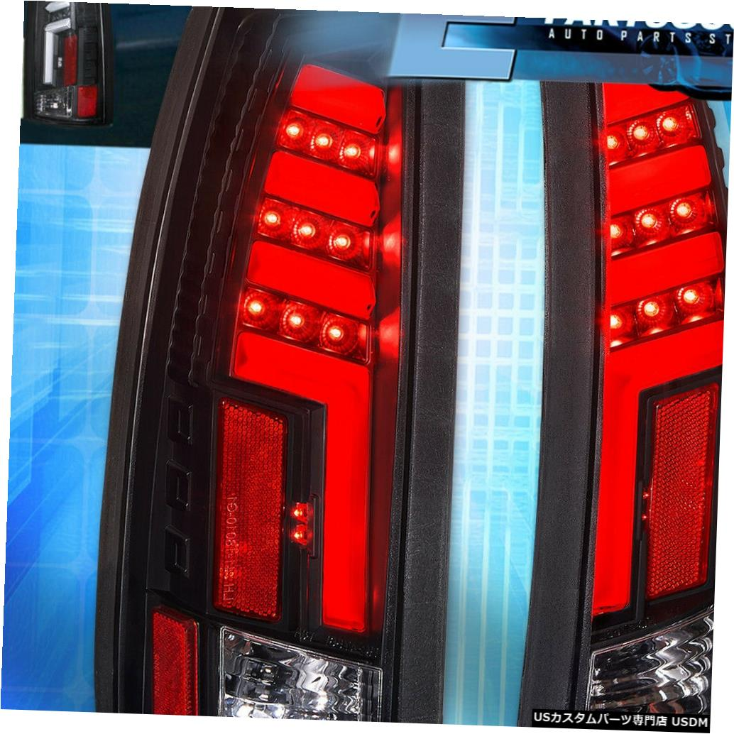 テールライト 1988-1998シボレーGMC C10クリアレンズブラックハウジングLEDチューブスタイルテールライト用 For 1988-1998 Chevy GMC C10 Clear Lens Black Housing LED Tube Style Tail Lights