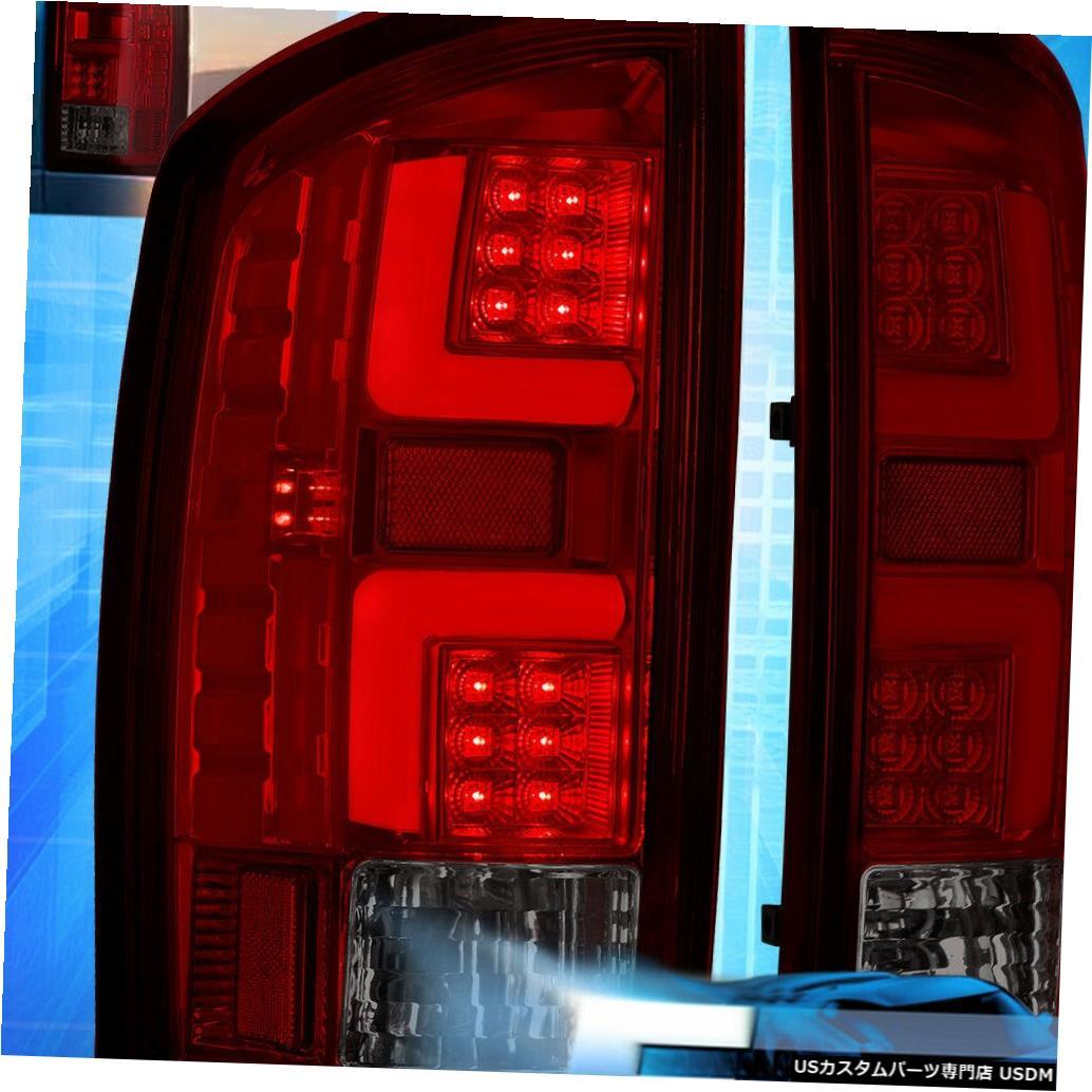 テールライト 2007-2009ダッジラム1500/2500/3500スモークレッドレンズLedチューブテールライトランプ For 2007-2009 Dodge Ram 1500/2500/3500 Smoked Red Lens Led Tube Tail Light Lamps