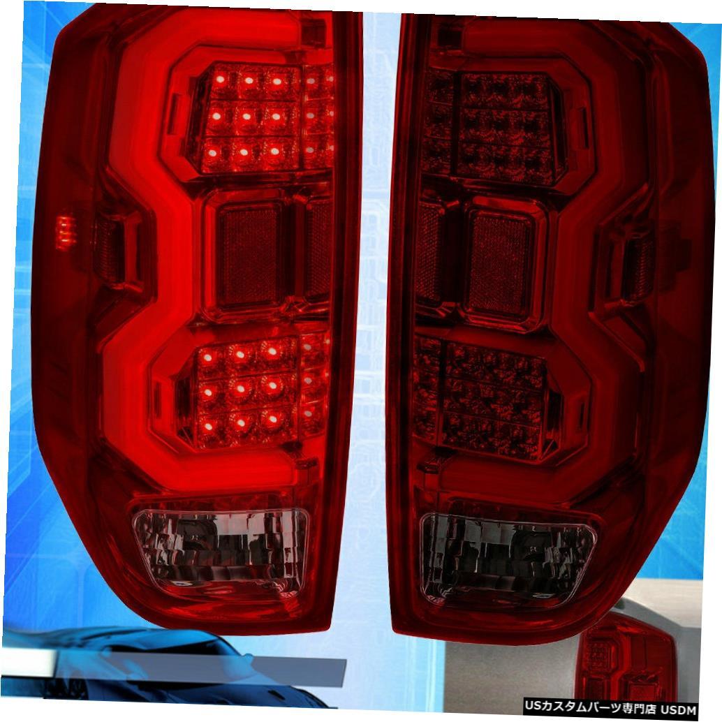 テールライト 14-20ツンドラクロームハウジング煙赤レンズテールライトチューブLED交換用 For 14-20 Tundra Chrome Housing Smoke Red Lens Tail Light Tube LED Replacement