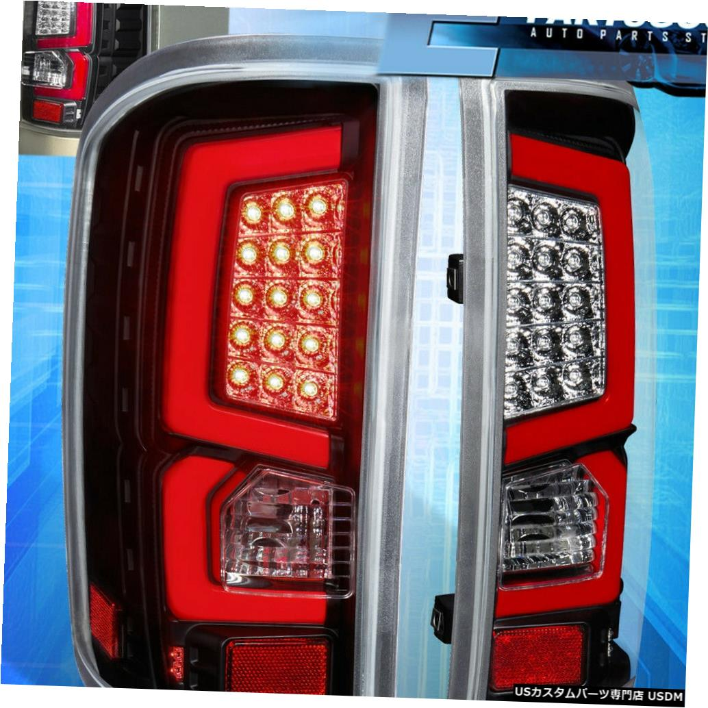 テールライト 2014-2018 Sierra Black Housing Clear Lens Tail Lights Tubes Red Led Replacement 2014-2018 Sierra Black Housing Clear Lens Tail Lights Tube Red Led Replacement