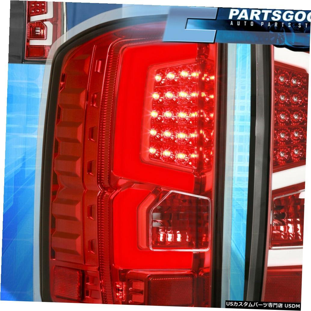 テールライト 14-18 GMCシエラホワイトチューブスタイルLEDテールライト赤ハウジングクリアレンズセット For 14-18 GMC Sierra White Tube Style LED Tail Lights Red Housing Clear Lens Set