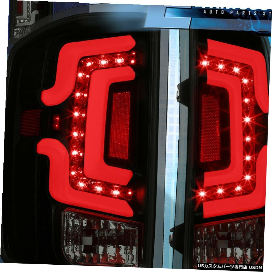 テールライト 14-18シボレーシルバラードLEDテールライトブレーキランプブラックハウジングスモークレンズ For 14-18 Chevy Silverado LED Tail Lights Brake Lamps Black Housing Smoked Lens