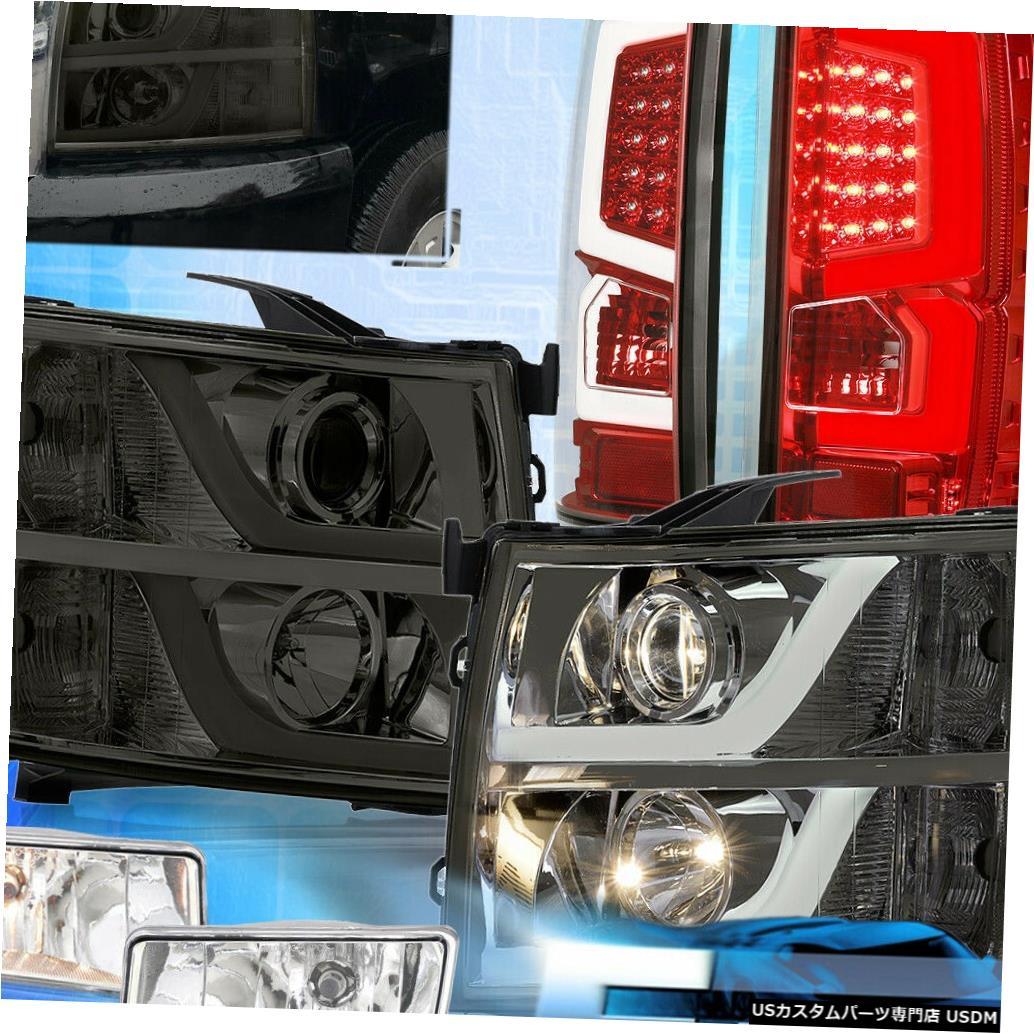 テールライト 07-13シルバラードリフレクタースモークヘッドライト赤クリアレンズテールライト+フォグ For 07-13 Silverado Reflector Smoked Headlight Red Clear Lens Tail Lights + Fogs