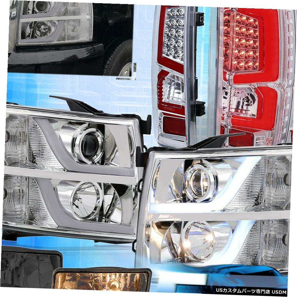 テールライト 07-13シルバラードリフレクターヘッドライト用赤色LEDクリアテールライト+スモークフォグ For 07-13 Silverado Reflector Headlights Red LED Clear Tail Lights + Smoked Fogs