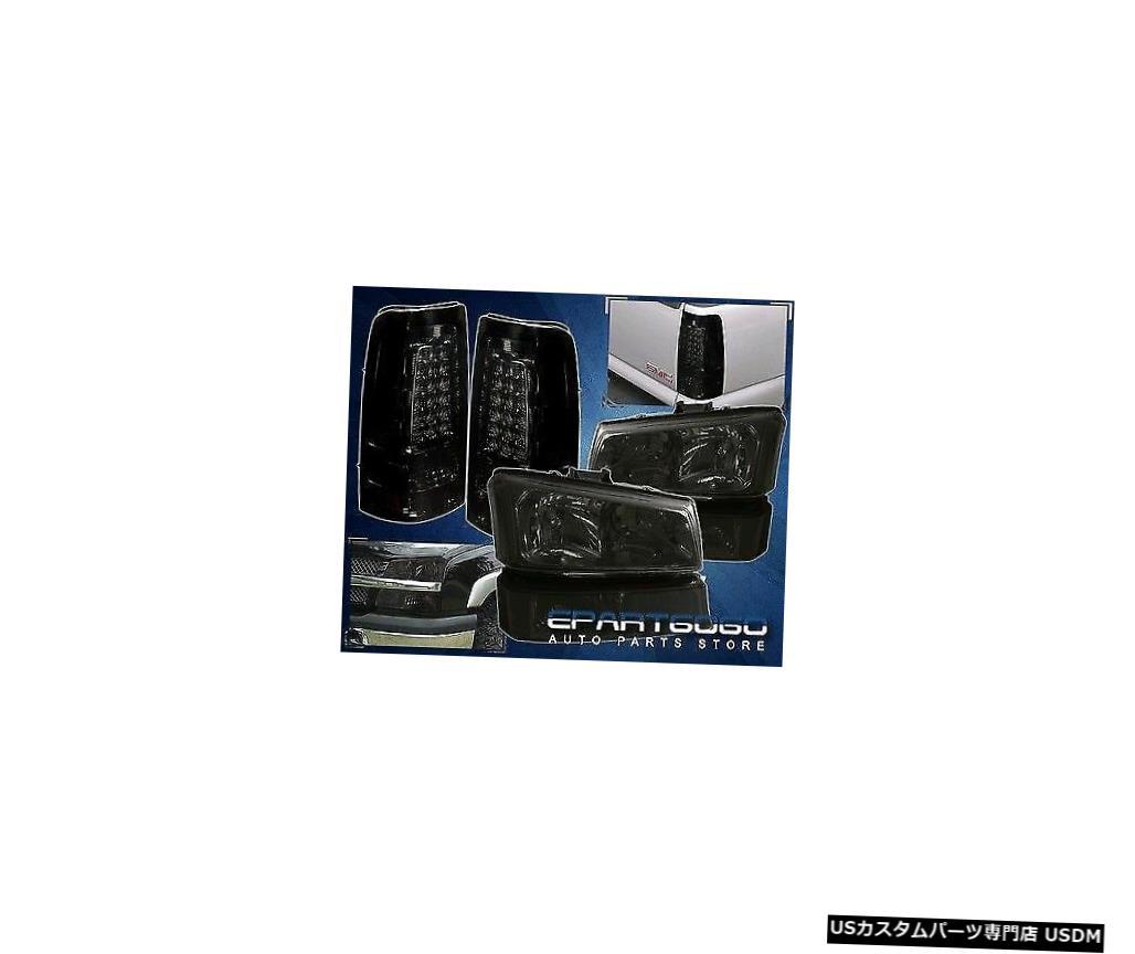 テールライト 2003-2006年のシルバラードスモークレンズクロームハウジングヘッドライトランプ+テールライト For 2003-2006 Silverado Smoked Lens Chrome Housing Headlight Lamps + Tail Lights