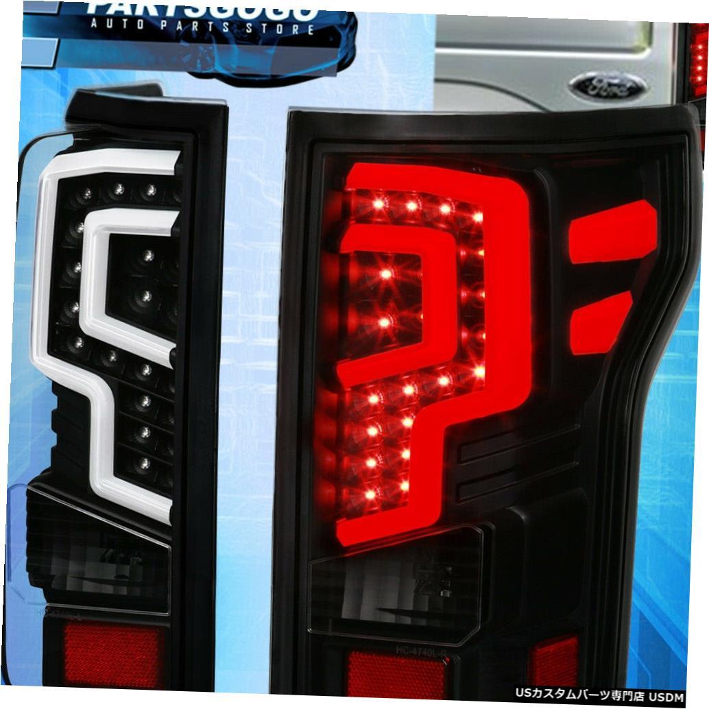 テールライト 18-19 Ford F150ブラックLedチューブストリークテールライトブレーキランプアセンブリLh + Rh For 18-19 Ford F150 Black Led Tube Streak Tail Light Brake Lamps Assembly Lh+Rh