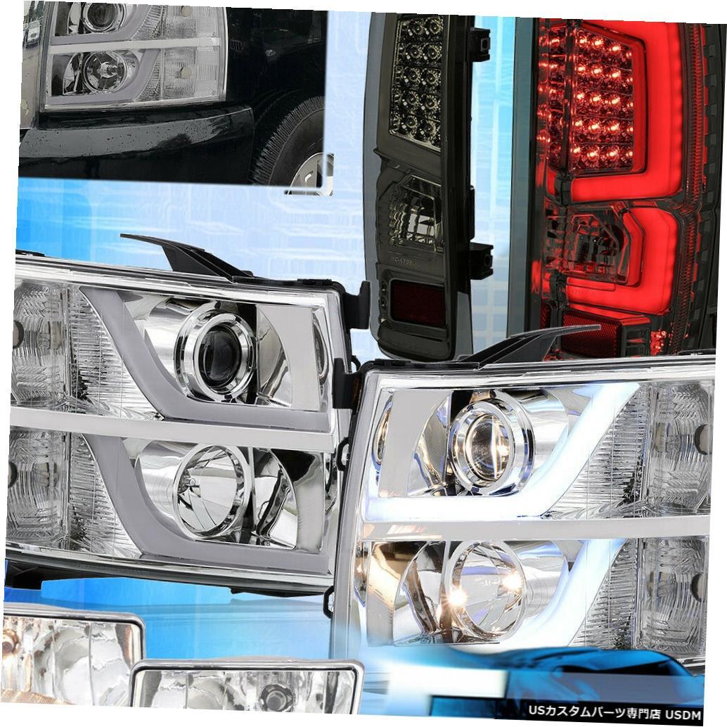 テールライト 07-13シルバラードリフレクターDRLヘッドライトLEDスモークテールライト+クリアフォグ用 For 07-13 Silverado Reflector DRL Headlights LED Smoked Tail Lights + Clear Fogs