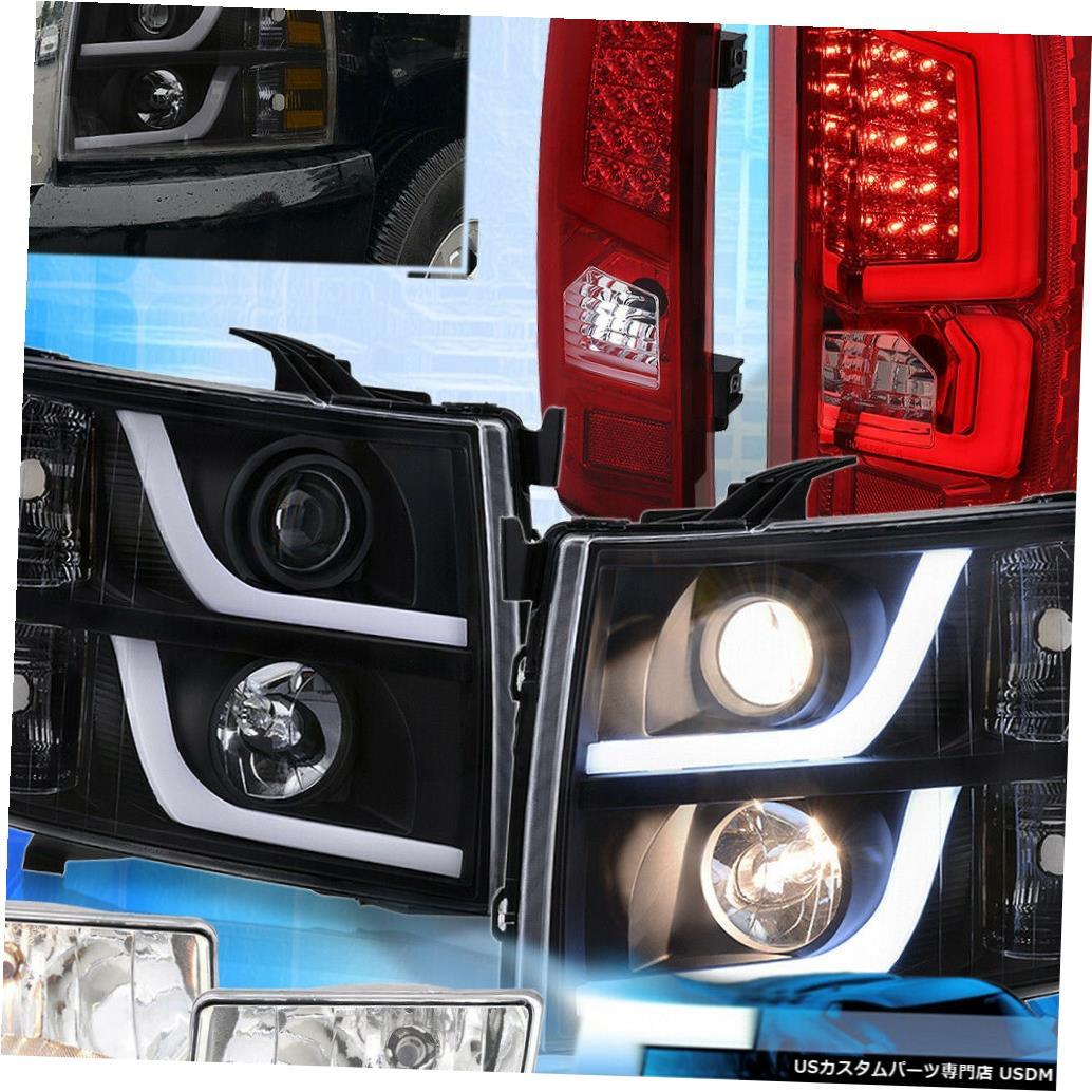 テールライト 07-13シルバラードブラックアンバーLed Drlヘッドライトクリアテールライトフォグランプ用 For 07-13 Silverado Black Amber Led Drl Headlights Clear Tail Lights Fog Light