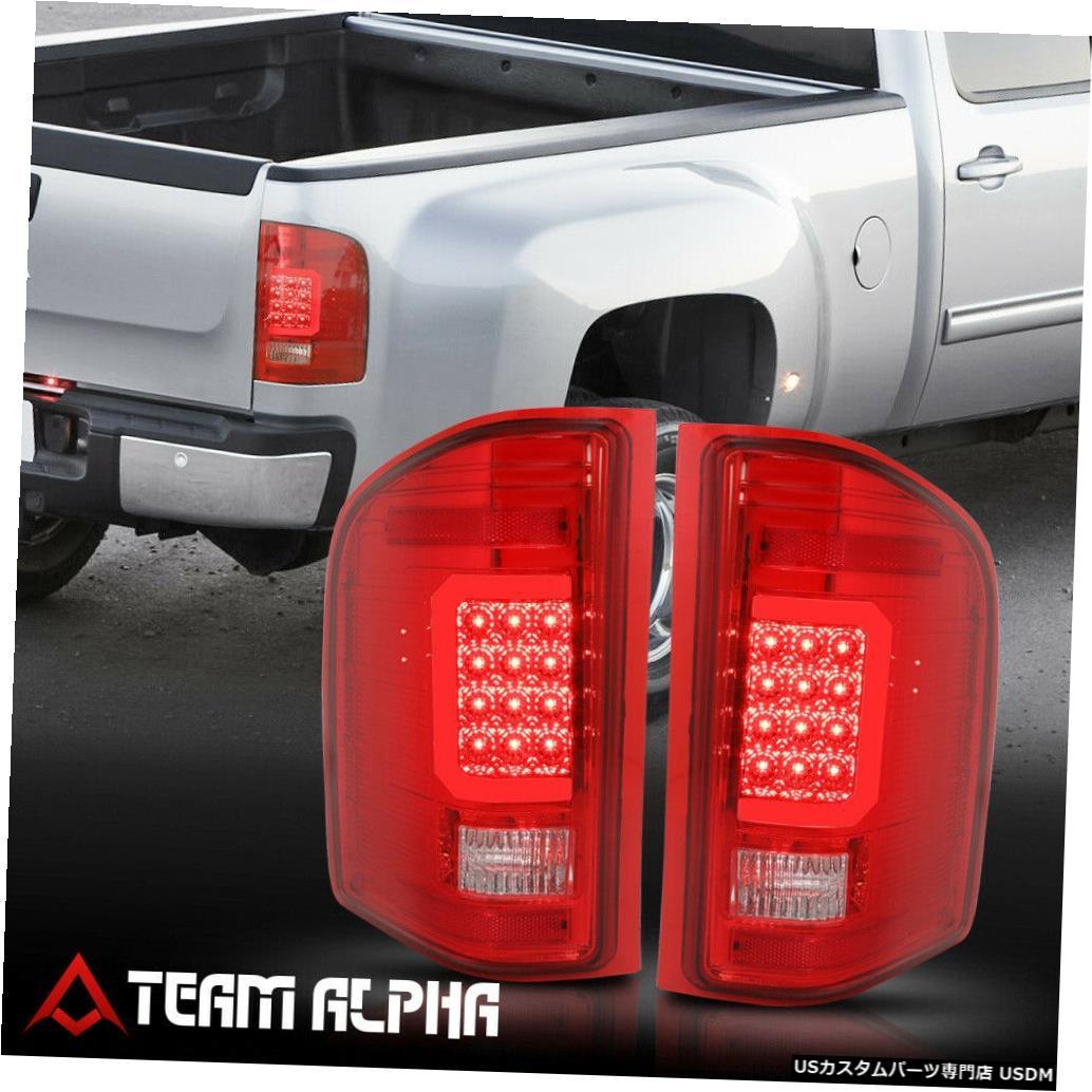 テールライト Fits 2007-2014 Chevy Silverado <LED RED C-BAR> Chrome/Red Brake Lamp Tail Light