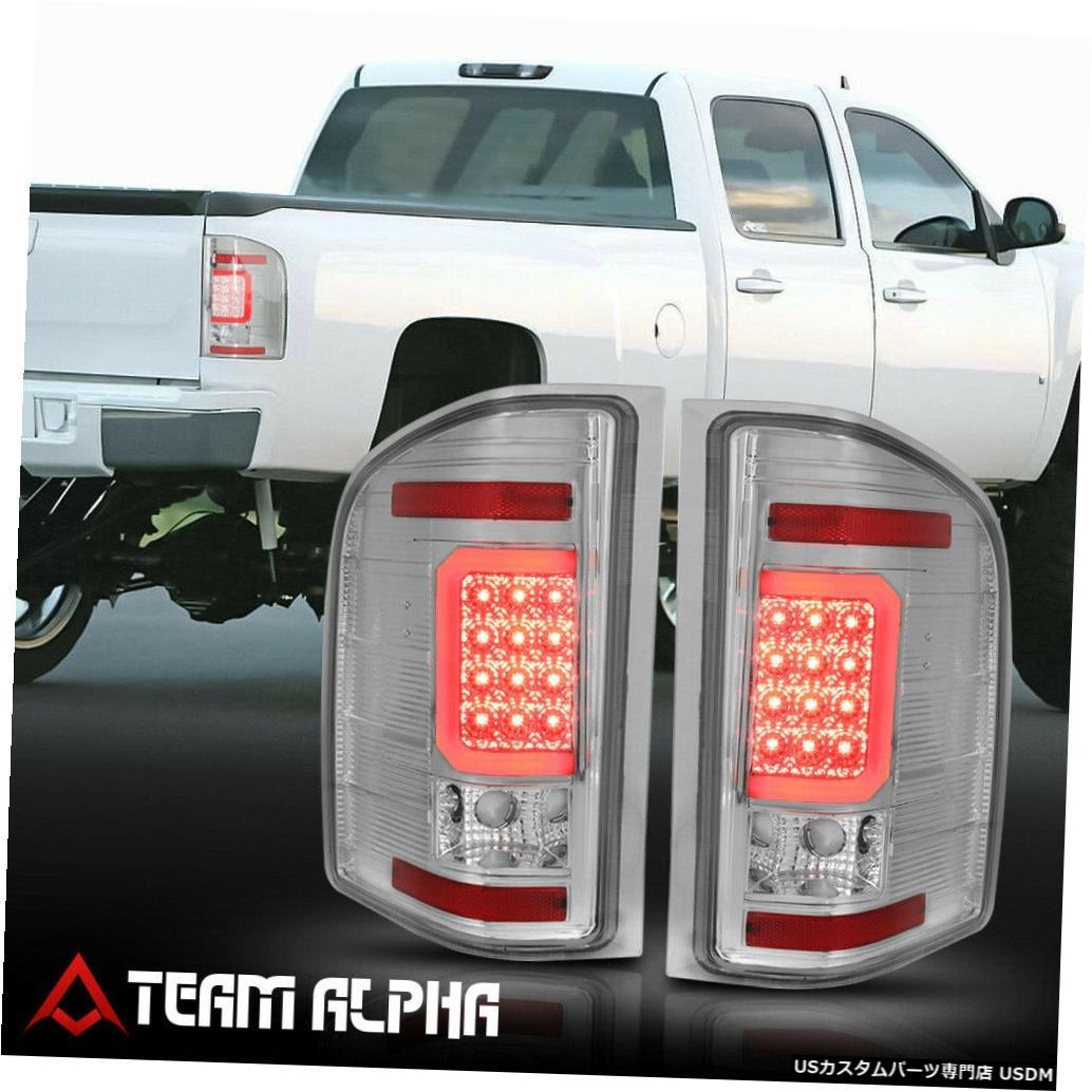 テールライト Fits 2007-2014 Chevy Silverado<NEON TUBE LED C-BAR>Chrome/Clear Tail Light Lamp
