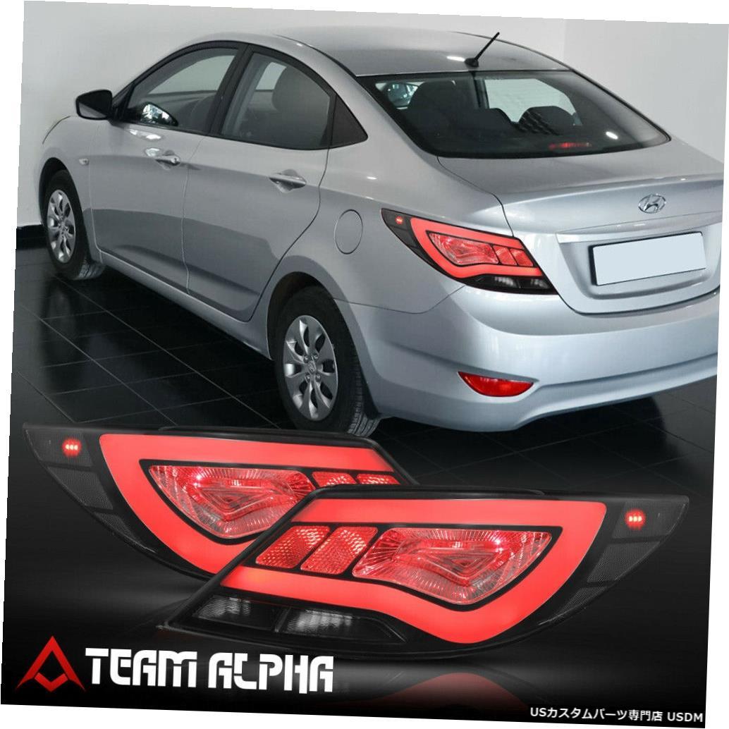 テールライト Fits 2012-2017 Hyundai Accent 4Dr<NEON TUBE LED BAR>Smoke Brake Lamp Tail Light