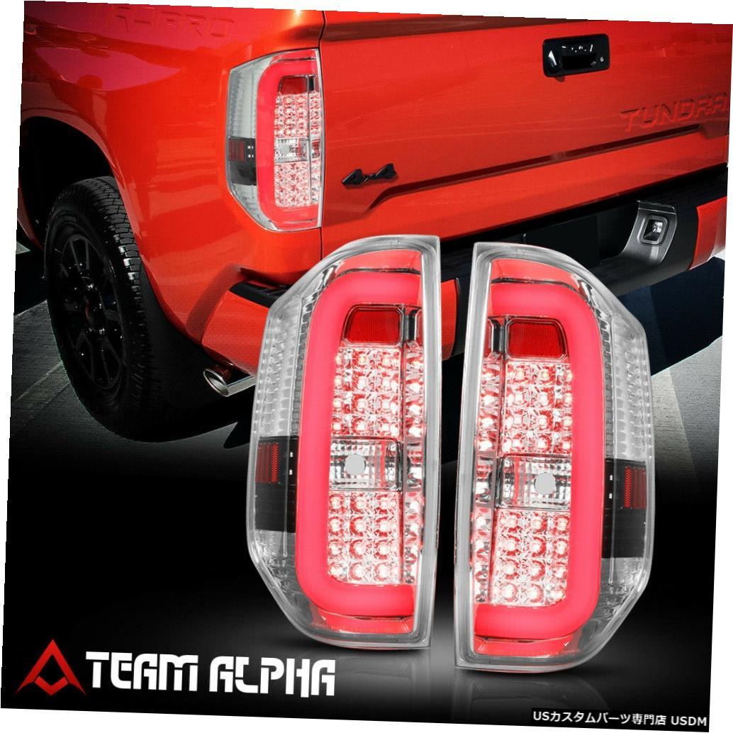 テールライト Fits 2004-2018 Toyota Tundra <LED RED C-BAR> Chrome/Clear Brake Lamp Tail Light