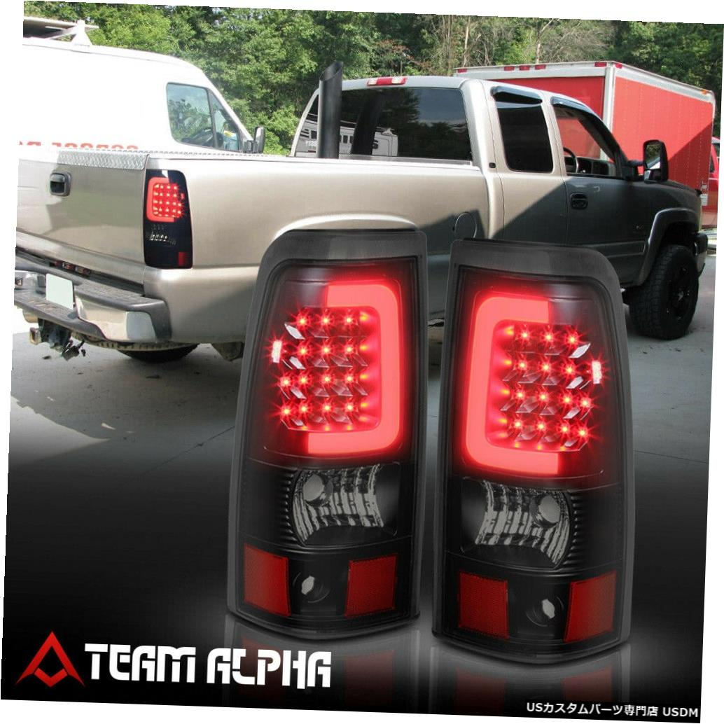 テールライト Fits 2003-2007 Silverado/Sierra Fleetside<LED C-BAR>Black/Smoke Tail Light Lamp