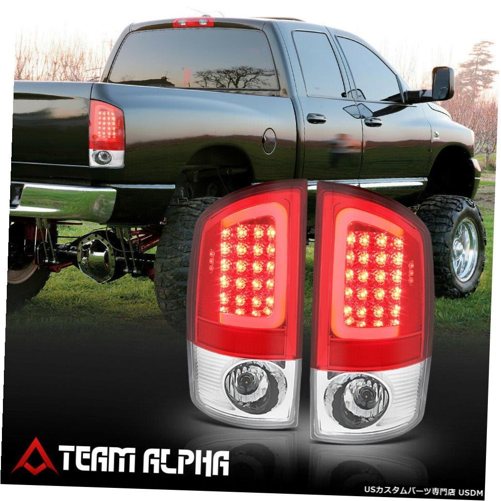 テールライト Fits 2007-2009 Dodge Ram <NEON TUBE LED C-BAR> Chrome/Red Brake Lamp Tail Light