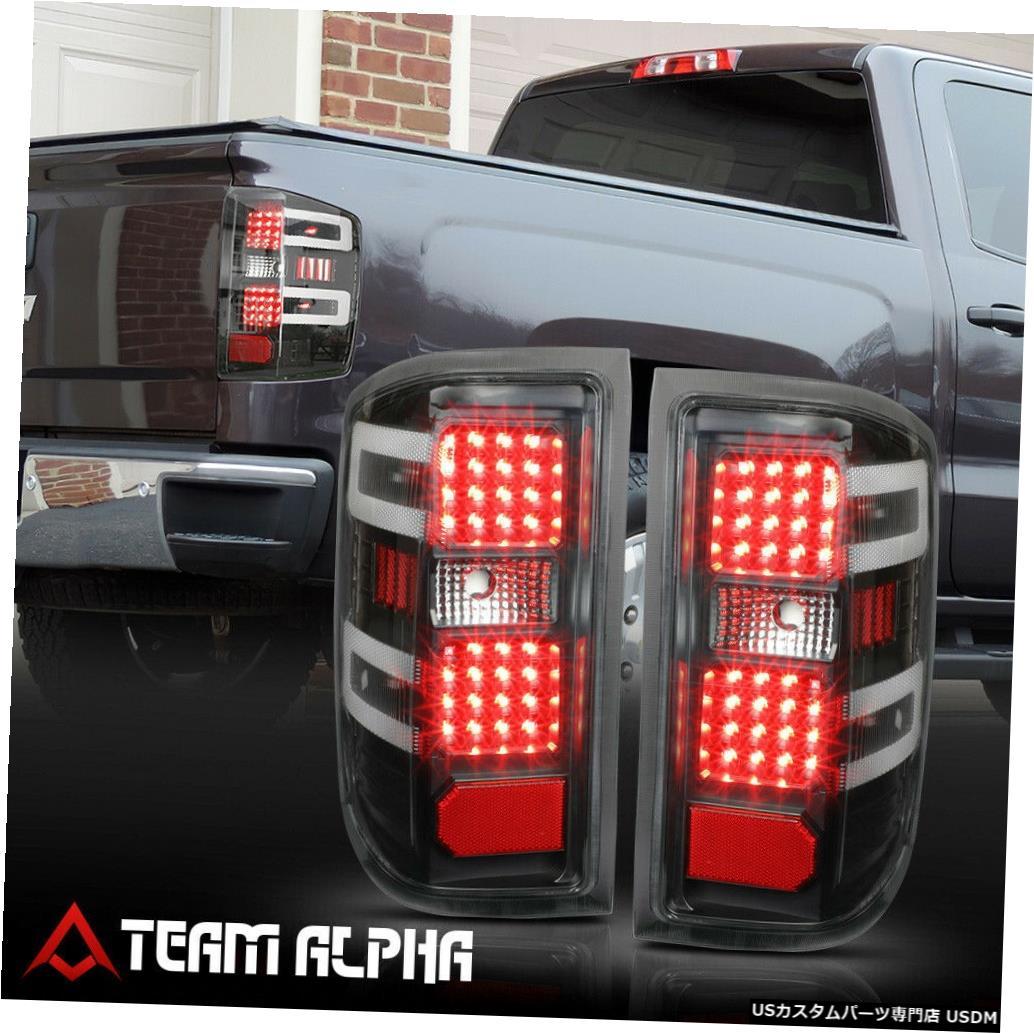 テールライト Fits 2014-2017 Silverado/Sierra<FULL LED>Black/Clear Brake Lamp Rear Tail Light