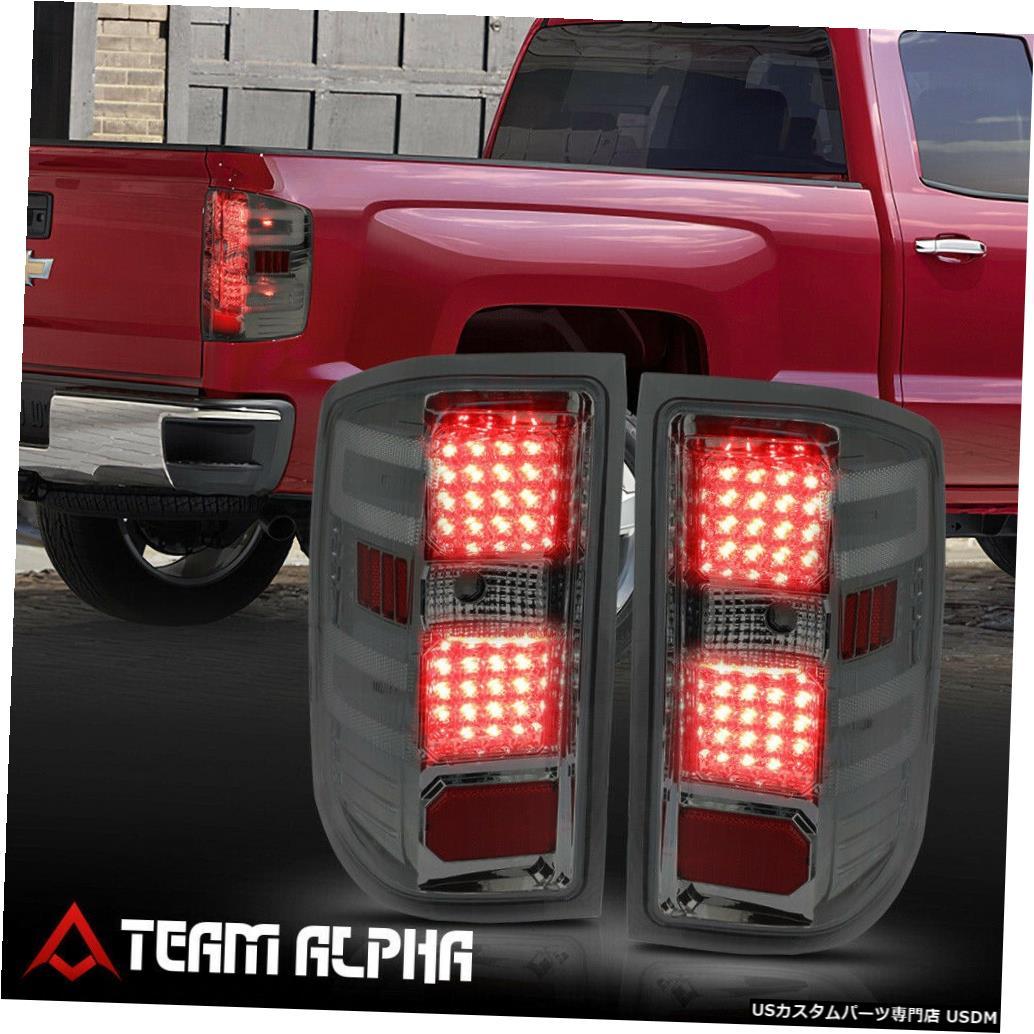 テールライト Fits 2014-2017 Silverado/Sierra<FULL LED>Chrome/Smoke Brake Lamp Rear Tail Light