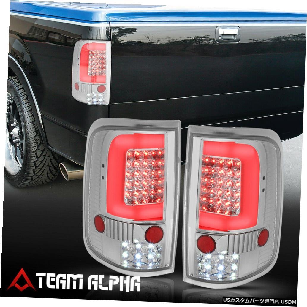 テールライト Fits 2004-2008 Ford F150<NEON TUBE LED C-BAR>Chrome/Clear Brake Lamp Tail Light