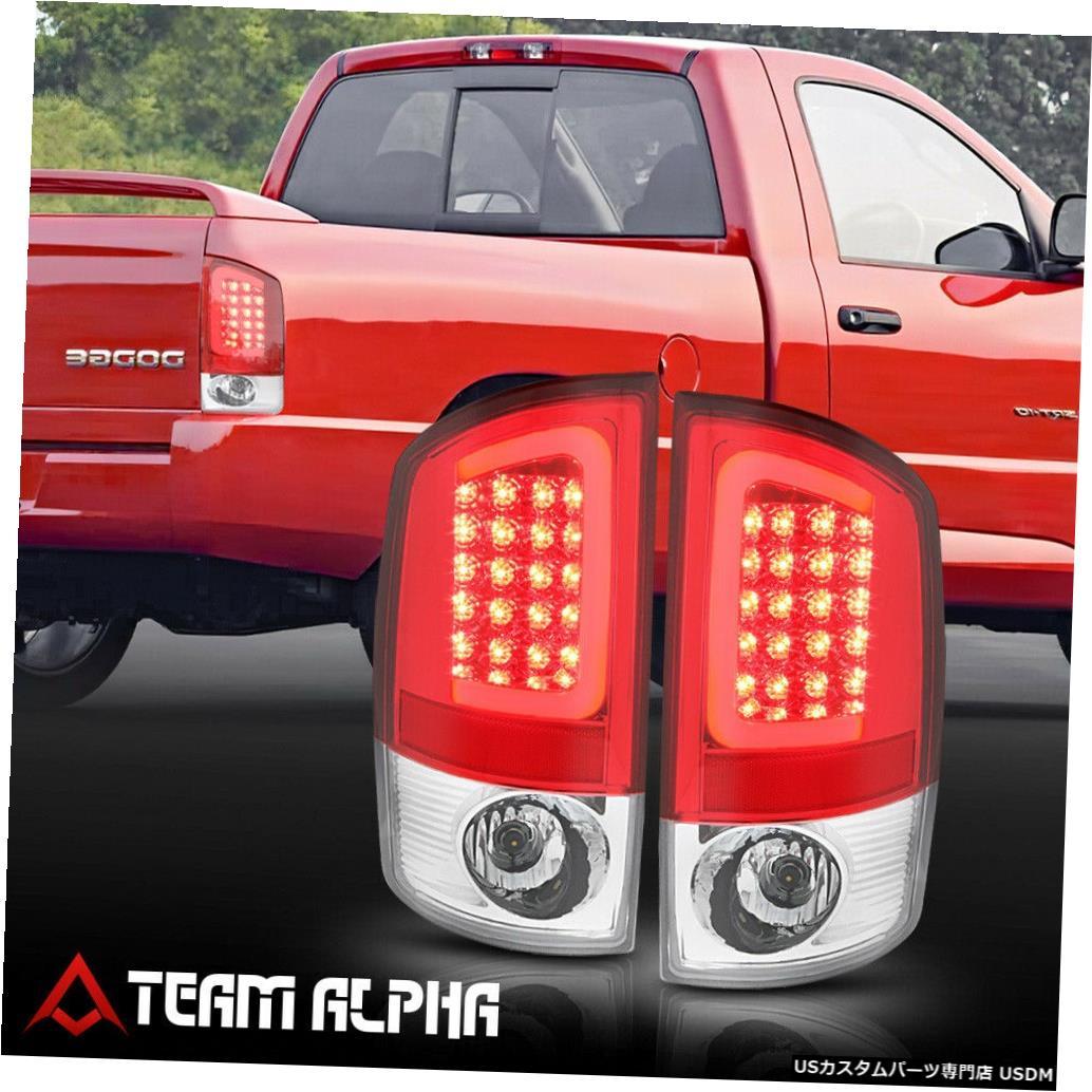 テールライト Fits 2002-2006 Dodge Ram <LED RED C-BAR> Chrome/Red Brake Lamp Rear Tail Light