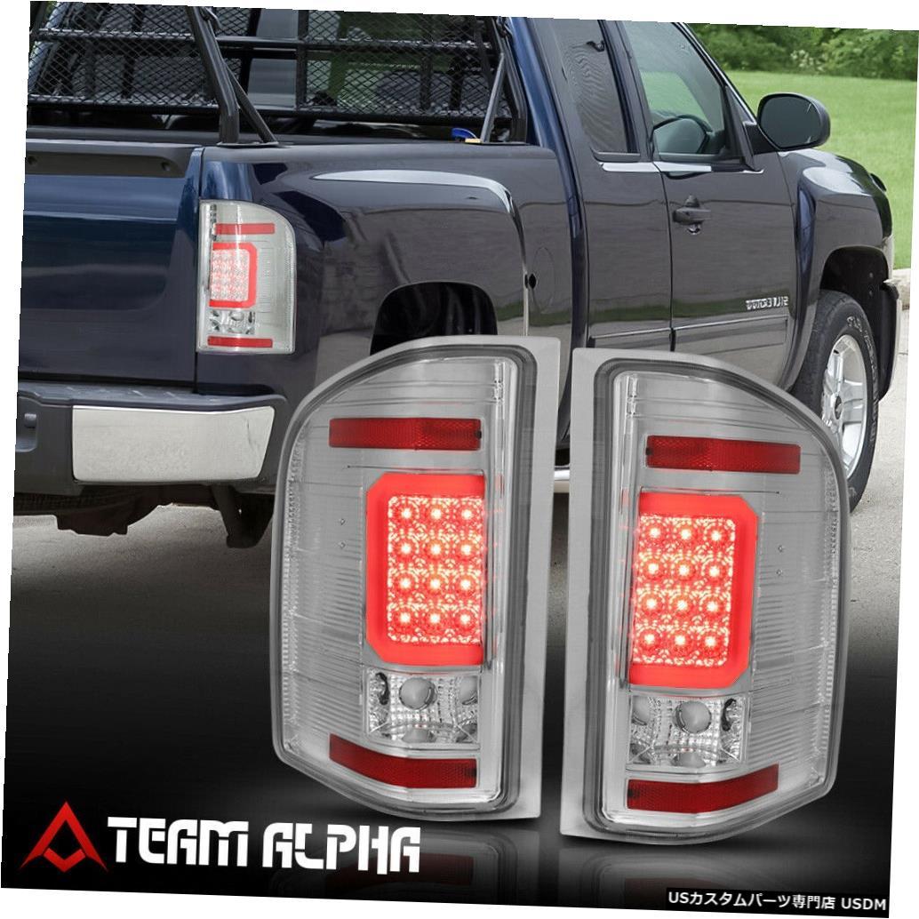 テールライト Fits 2007-2014 Chevy Silverado<LED RED C-BAR>Chrome/Clear Brake Lamp Tail Light