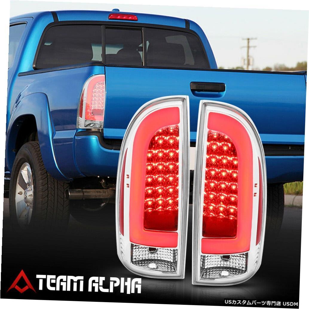 テールライト Fits 2005-2015 Toyota Tacoma <LED RED C-BAR> Chrome/Clear Brake Lamp Tail Light