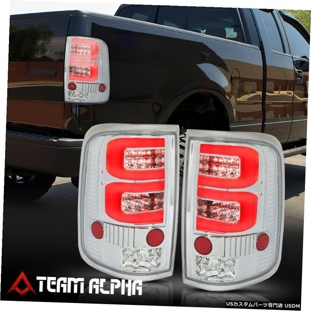 テールライト Fits 2004-2008 Ford F150 <DUAL RED NEON TUBE LED C-BAR> Chrome/Clear Tail Light