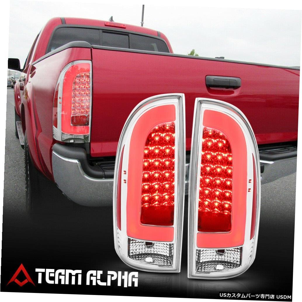 テールライト Fits 2005-2015 Toyota Tacoma <NEON TUBE LED C-BAR> Chrome/Clear Tail Light Lamp