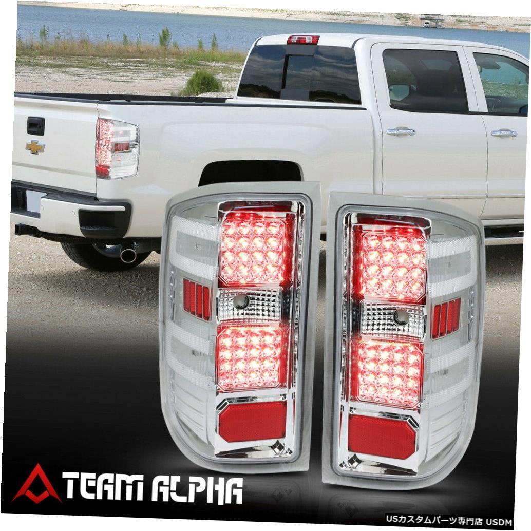 テールライト Fits 2014-2017 Silverado/Sierra<FULL LED>Chrome/Clear Brake Lamp Rear Tail Light