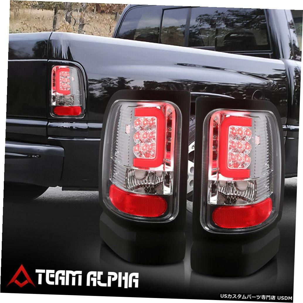 テールライト Fits 1994-2002 Dodge Ram <LED RED C-BAR> Chrome/Clear Brake Lamp Rear Tail Light